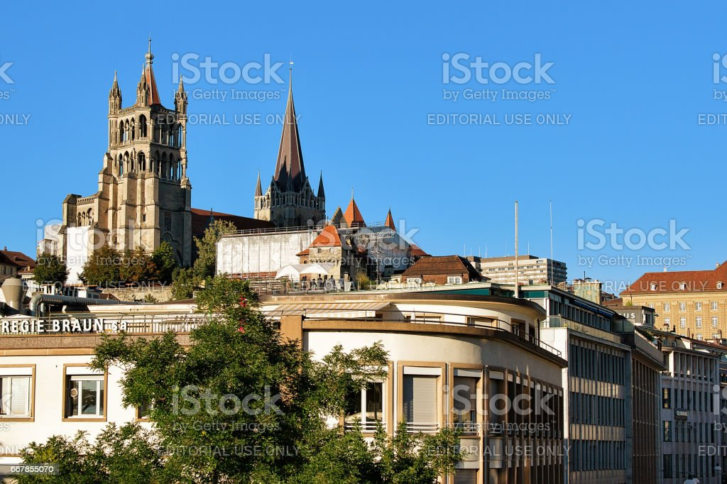 Cathedral of Notre Dame Lausanne Switzerland stock photo
