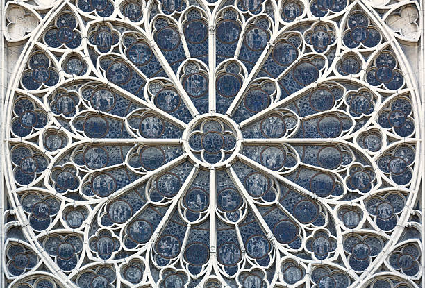 cathedral of notre dame paris france detail window - rose window stock pictures, royalty-free photos & images