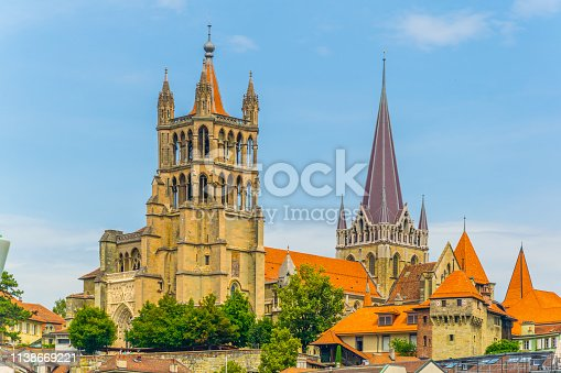 istock Cathedral of our lady in the old town of Lausanne, Switzerland 1138669221