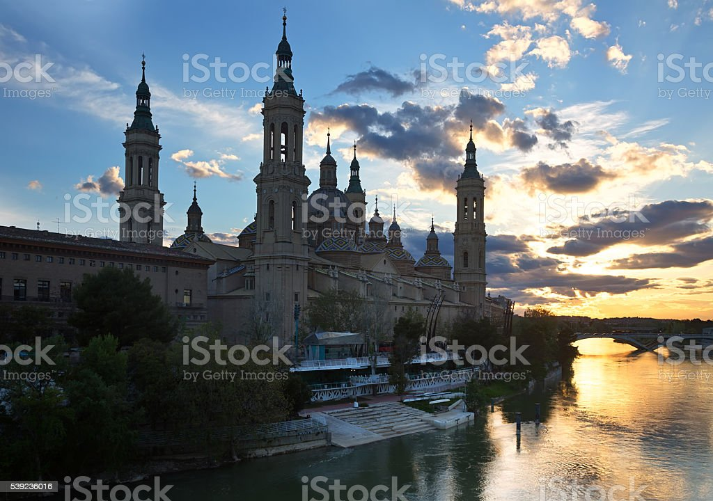 Cathedral of Our Lady of the Pillar and Ebro river royalty-free stock photo