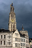 Cathedral of Our Lady square in Antwerpen, Belgium.