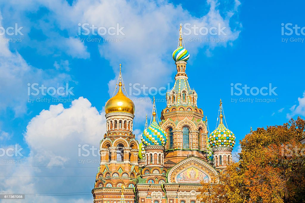 Cathedral of Our Saviour on Spilled Blood in St Petersburg stock photo