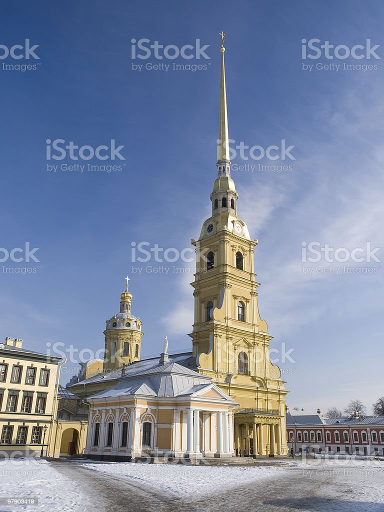 Cathedral of Peter and Pavel in winter royalty-free stock photo