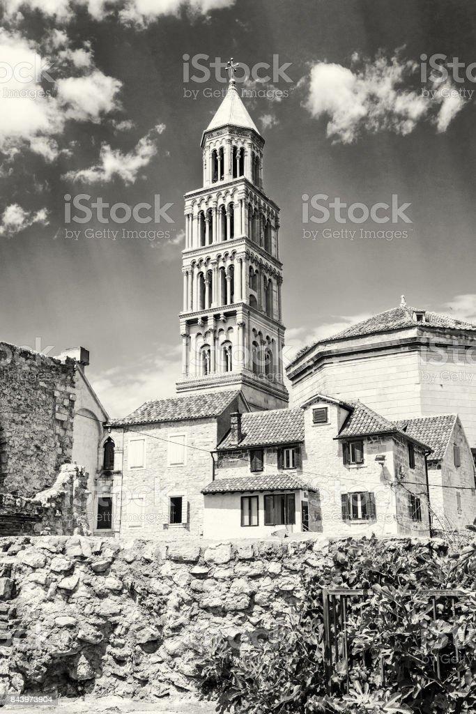 Cathedral of Saint Domnius in Split, Croatia, colorless stock photo