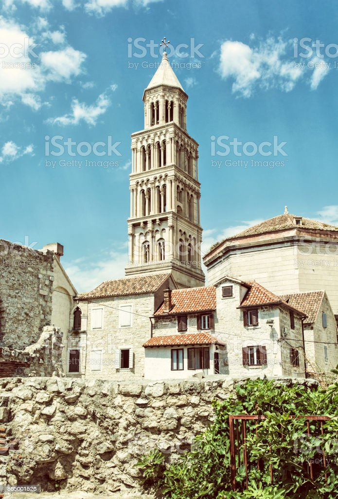 Cathedral of Saint Domnius in Split, Croatia, old filter stock photo