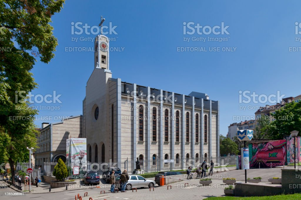 Cathedral of Saint Joseph in Sofia Sofia, Bulgaria - May 18 2019: The Cathedral of Saint Joseph (Bulgarian: Римокатолическа енория Свети Йосиф) is a mordern Catholic cathedral in the city center. Architecture Stock Photo