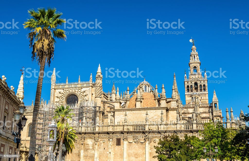 Cathedral of Saint Mary in Seville - Andalusia, Spain stock photo