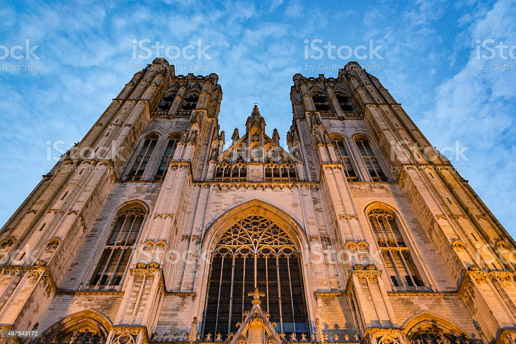Cathedral of Saint Michael and Saint Gudula at sunset stock photo