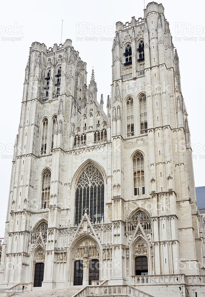 Cathedral of Saint Michael, Brussels. stock photo