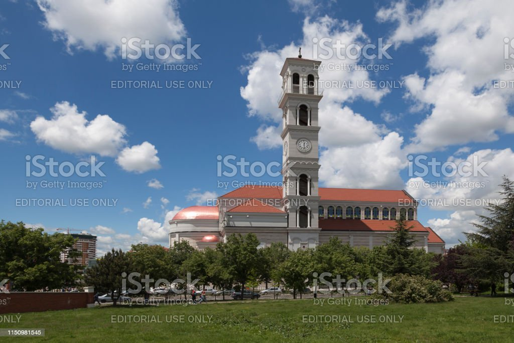 Cathedral of Saint Mother Teresa in Pristina stock photo