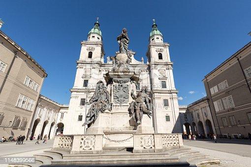 Salzburg, Austria - April 29; 2016: Cathedral of Saints Rupert and Vergilius and Marian column in Domplatz. Salzburg,  Austria