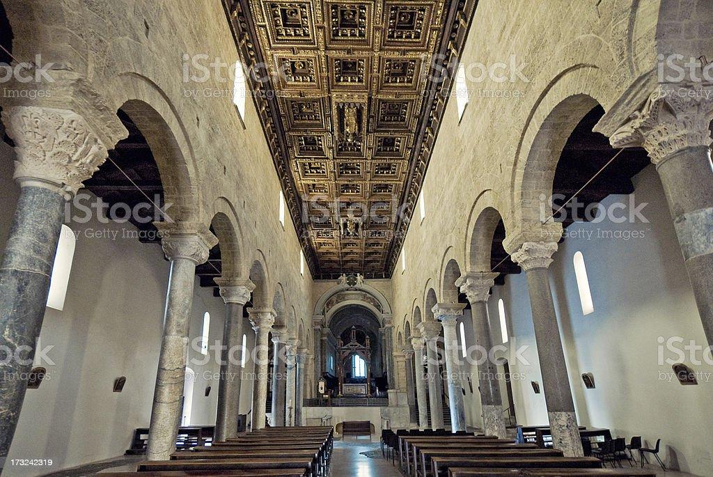 Cathedral of San Cataldo, main 'navata' stock photo