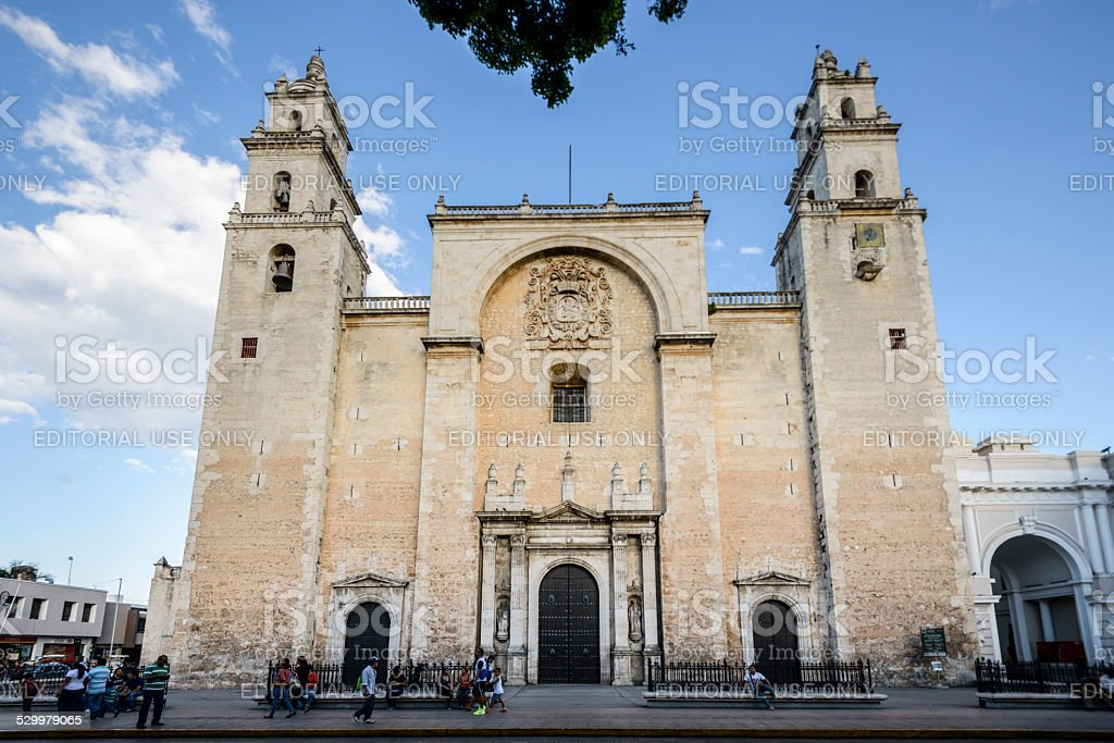 Cathedral of San Ildefonso, Merida, Mexico stock photo
