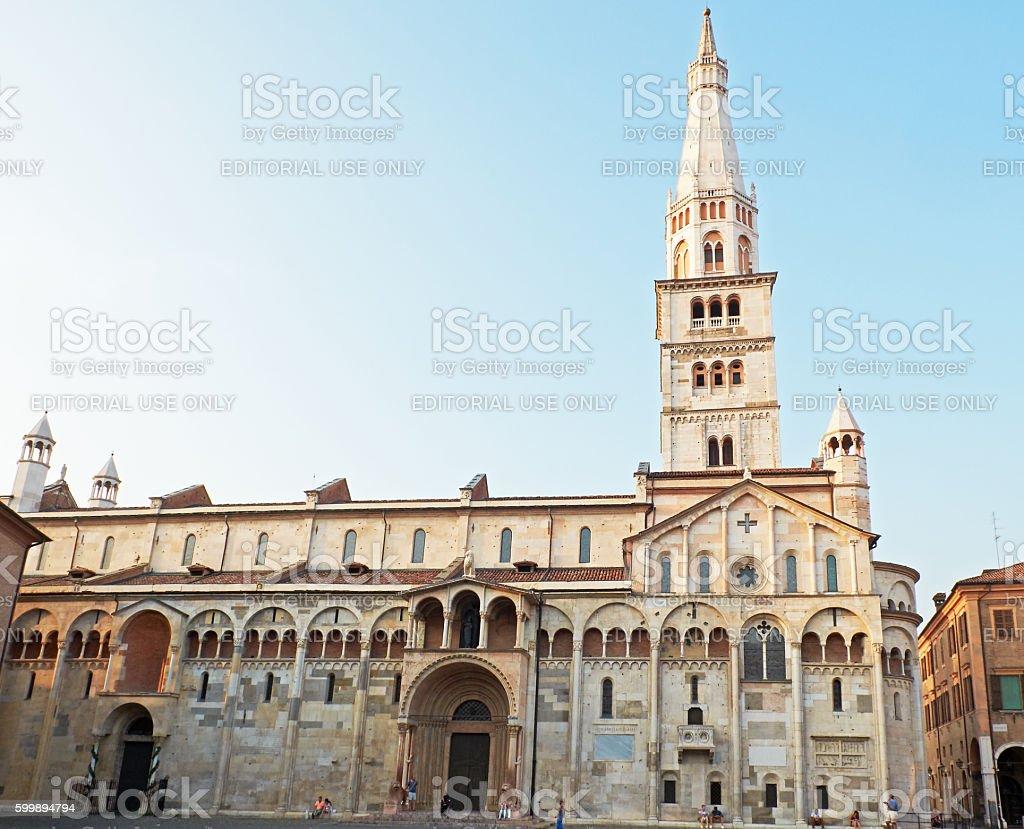 Cathedral of Santa Maria Assunta e San Geminiano of Modena, Italy. stock photo