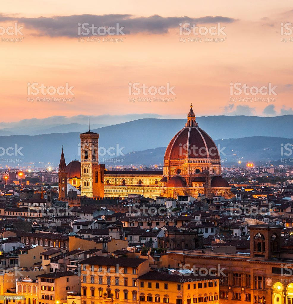 Cathedral of Santa Maria del Fiore (Duomo) at dusk, Florence stock photo