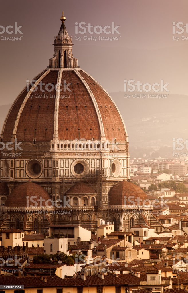 Cathedral of Santa Maria del Fiore at sunset. Florence. Italy stock photo