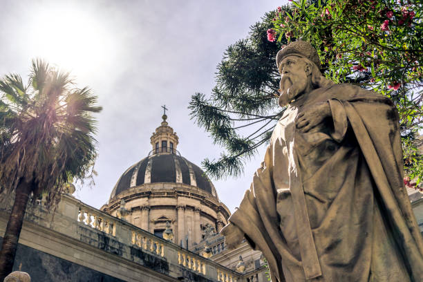 Cathedral of Sant'Agata, Catania, Sicily, Italy View from the bottom of the cathedral of Sant'agata and the statues around it catania stock pictures, royalty-free photos & images