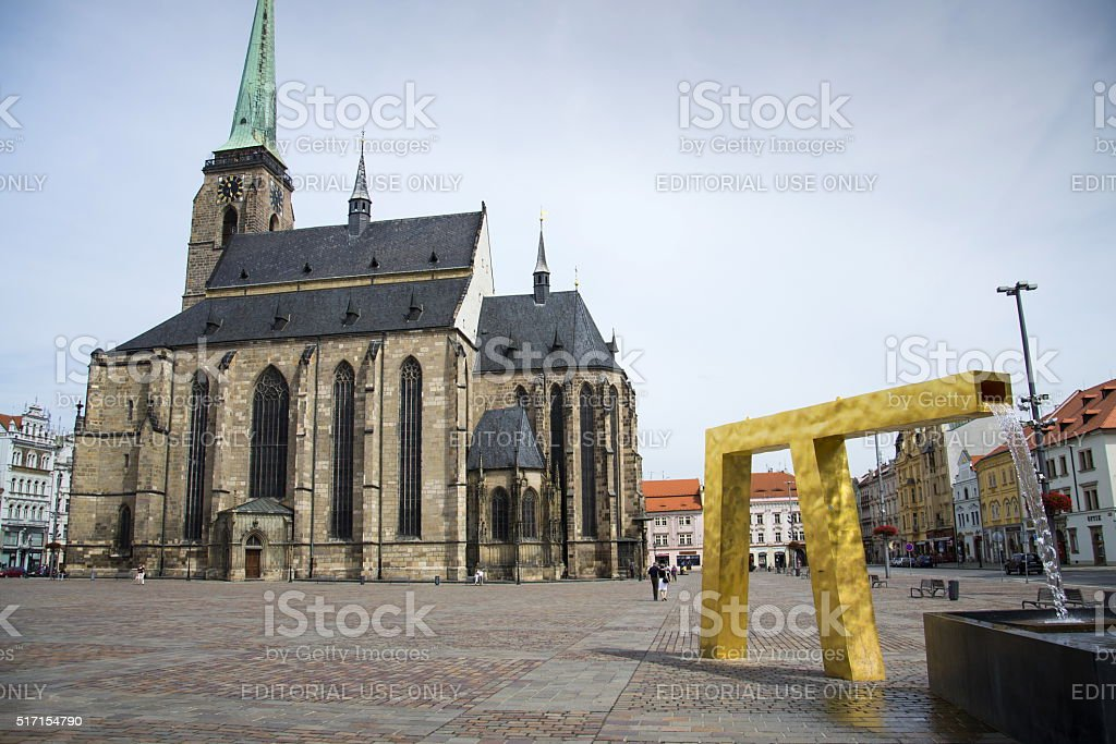 Cathedral of St. Bartholomew in Pilsen Czech republic stock photo