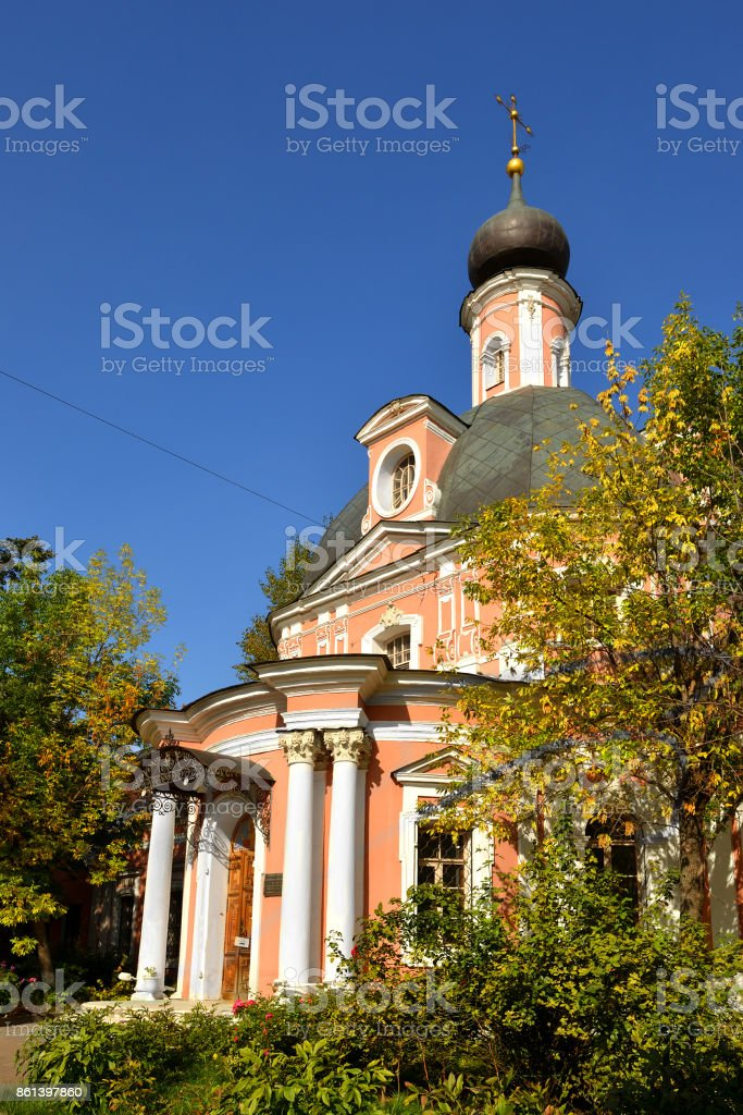 Cathedral of St. Catherine Great Martyr in-the-Fields located in Moscow, Russia is representation church for Orthodox Church in America to Church of Russia. It was built in mid-eighteenth century stock photo