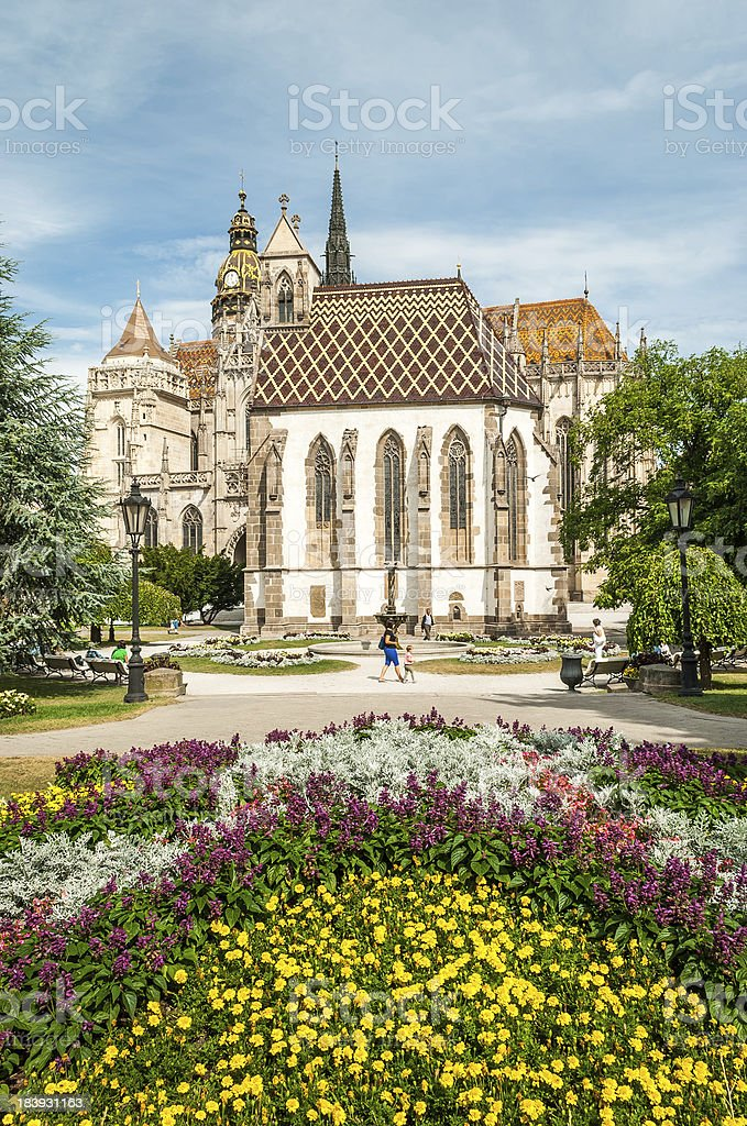 Cathedral of St. Elizabeth with garden stock photo