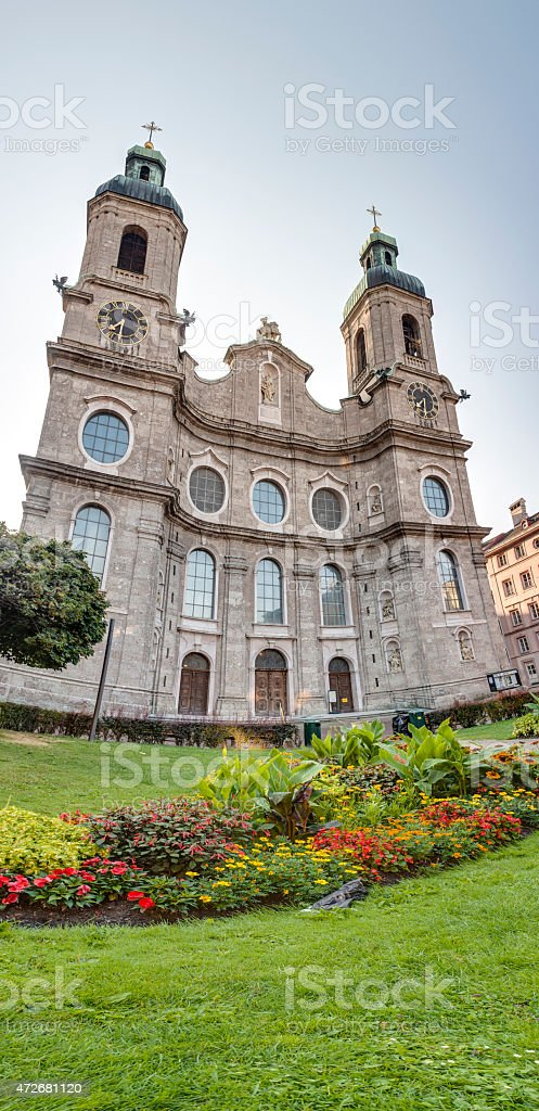 Cathedral of St. James in Innsbruck, Austria. stock photo