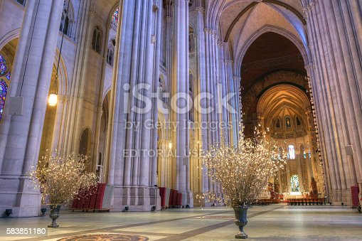 New York, NY, USA - May 25, 2016. A view of the interior of the Cathedral of Saint John the Divine in New York City.