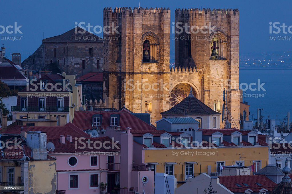 Cathedral of St. Mary in Lisbon stock photo