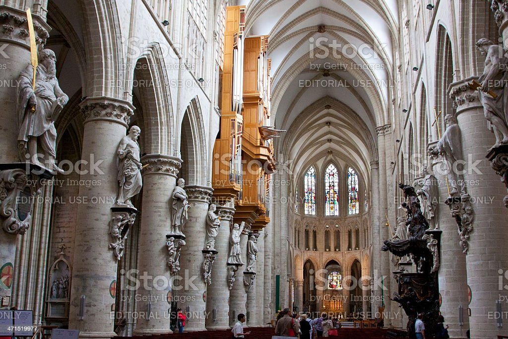 Cathedral of St. Michael and Gudula, Brussels. stock photo