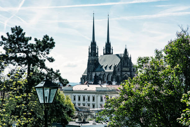 Cathedral of St. Peter and Paul in Brno, blue filter Cathedral of St. Peter and Paul in Brno, Moravia, Czech republic. Religious architecture. Beautiful place. Blue photo filter. brno stock pictures, royalty-free photos & images