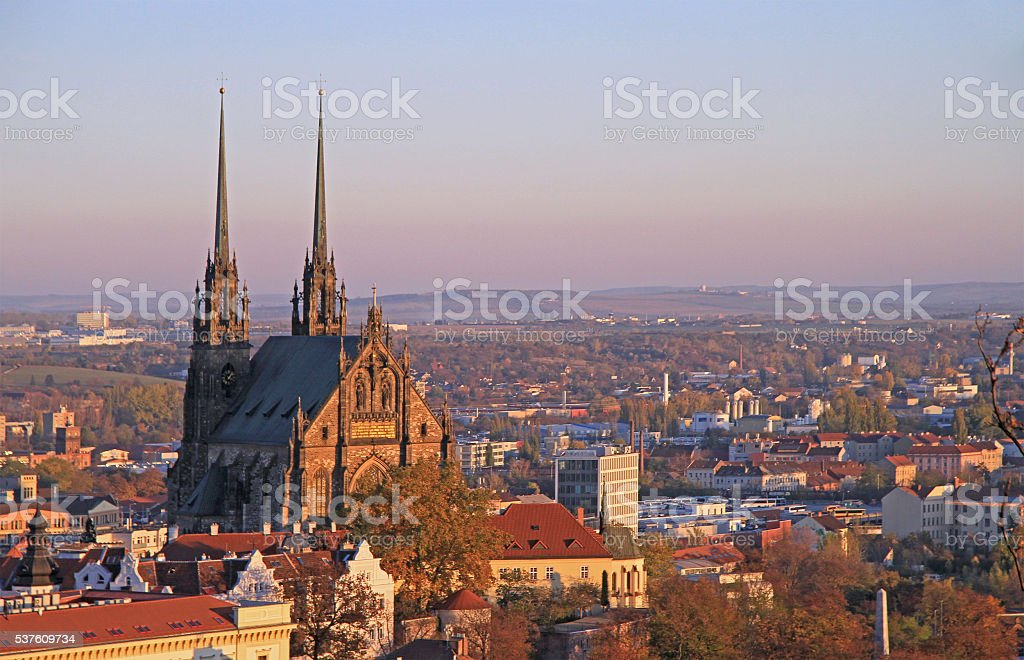 Cathedral of St. Peter and Paul with other buildings stock photo