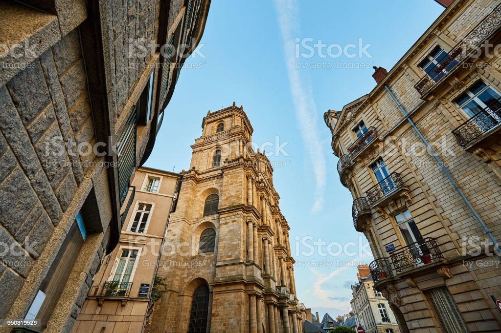 Cathedral of St Peter in the city center of Rennes,  Rennes city stock photo