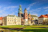Krakow, Poland - November 5, 2016: Cathedral of St. Stanislaw and St. Vaclav and royal castle on the Wawel Hill in the sunny day