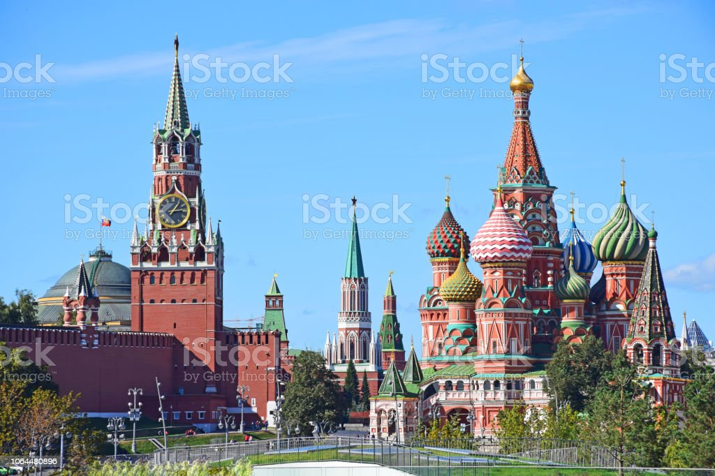 Cathedral of St. Vasily and the Spassky Tower of the Kremlin stock photo