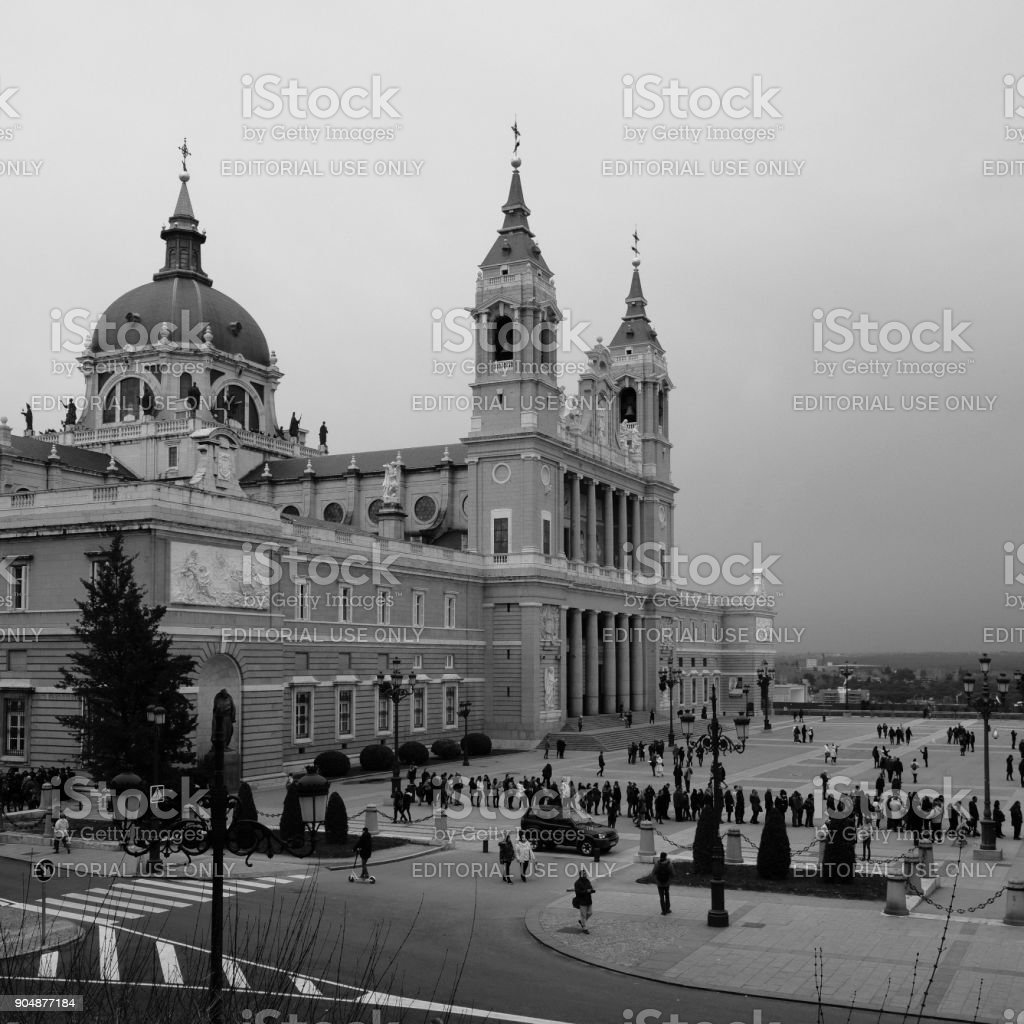 Cathedral of the Almudena of Madrid stock photo