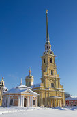 """""""St  Petersburg, Russian Federation - January 26, 2011 :The cathedral of the Apostles st Peter and Paul, the first orthodox church in st Petersburg, on Zayachy island, within the Peter and Paul fortress."""""""