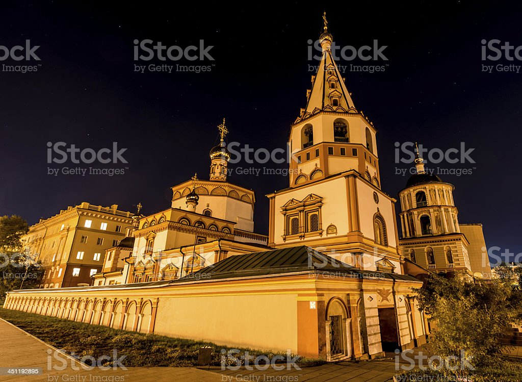 Cathedral of the Epiphany, Irkutsk, Russia at night stock photo