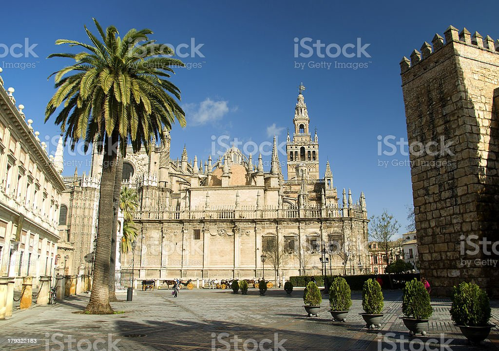 Cathedral of the Giralda in Seville.Spain stock photo