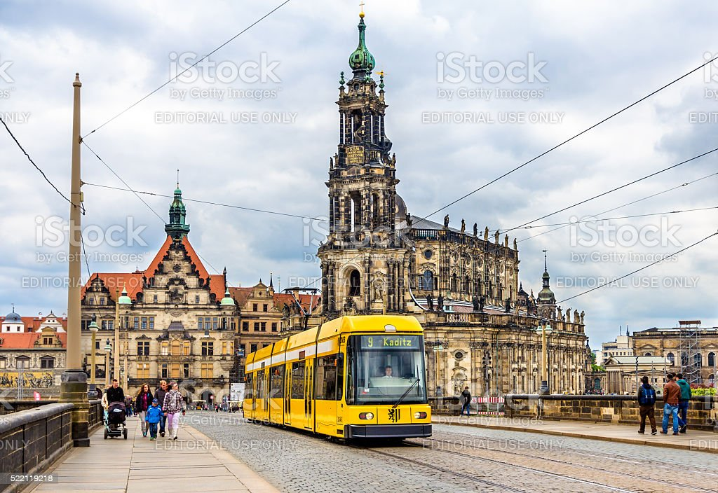 Cathedral of the Holy Trinity and a tram in Dresden stock photo
