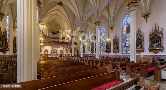 Fort Wayne, Indiana, United States - October 29, 2018: Panoramic of the interior and nave of the Cathedral of the Immaculate Conception church on Clinton Street in Fort Wayne