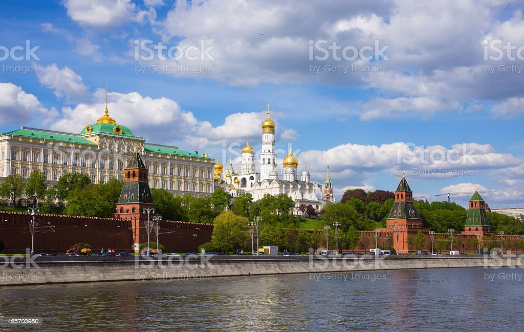 Cathedral of the Moscow Kremlin in summer stock photo