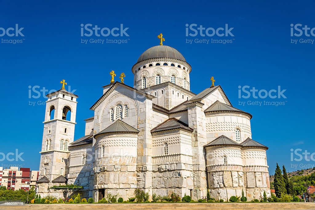 Cathedral of the Resurrection of Christ in Podgorica - Montenegr stock photo