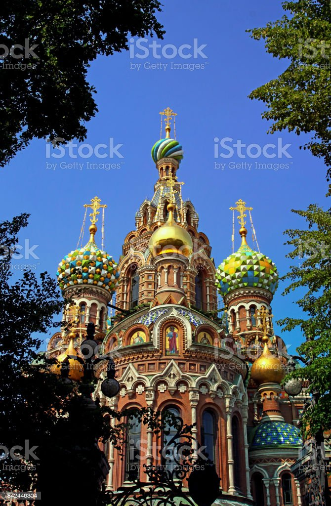 Cathedral of the Resurrection on Spilled Blood (Church of Our Savior on the Spilled Blood) in St Petersburg stock photo