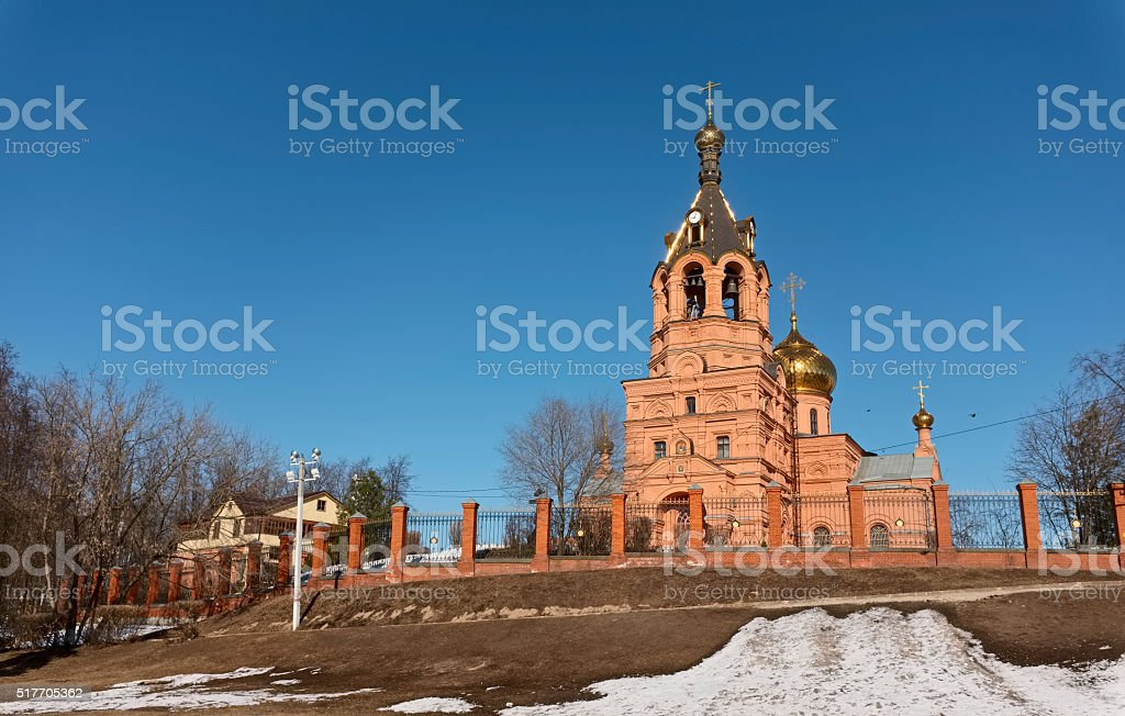 Cathedral of the Trinity Life-Giving in the town of Ramenskoye stock photo