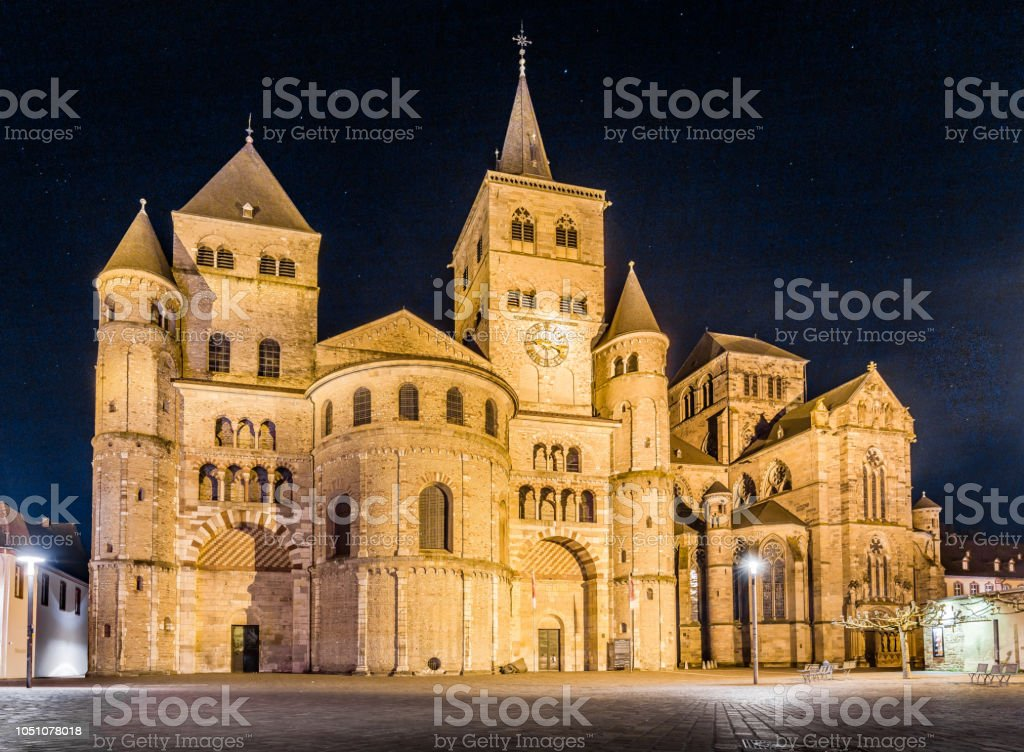 Cathedral of Trier at night, Rhineland-Palatinate, Germany stock photo
