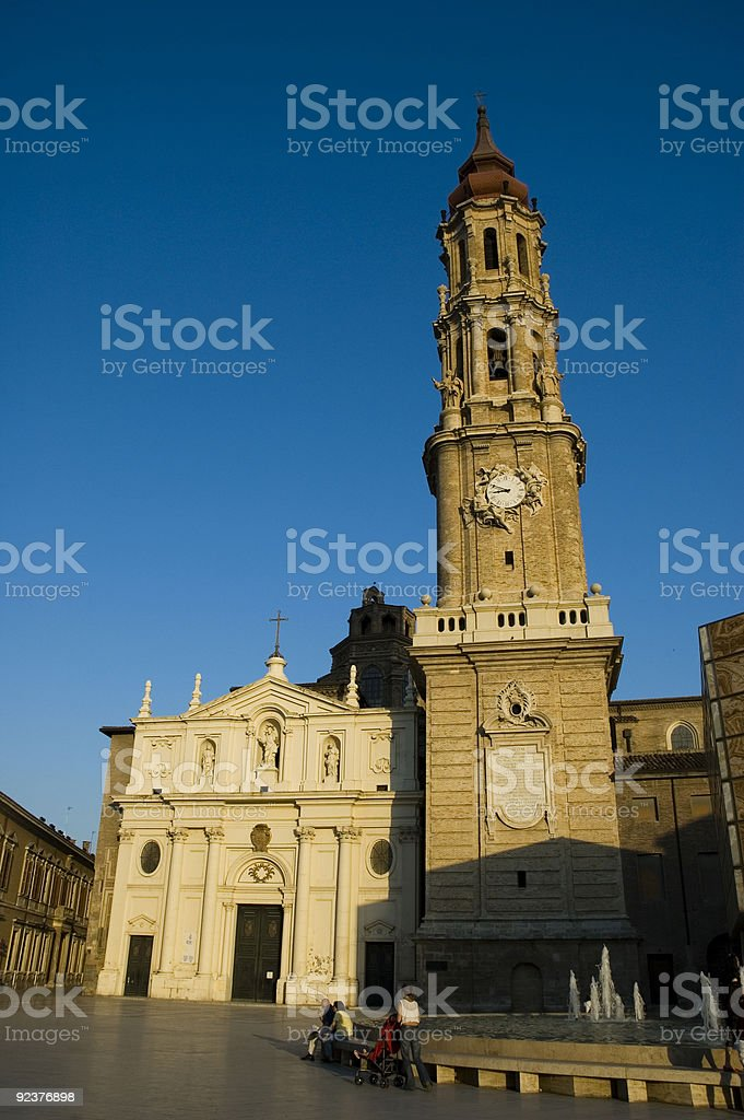 Cathedral of Zaragoza at dusk royalty-free stock photo