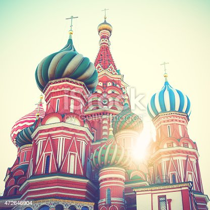 Cathedral on Red Square in Moscow. Retro style filtred image