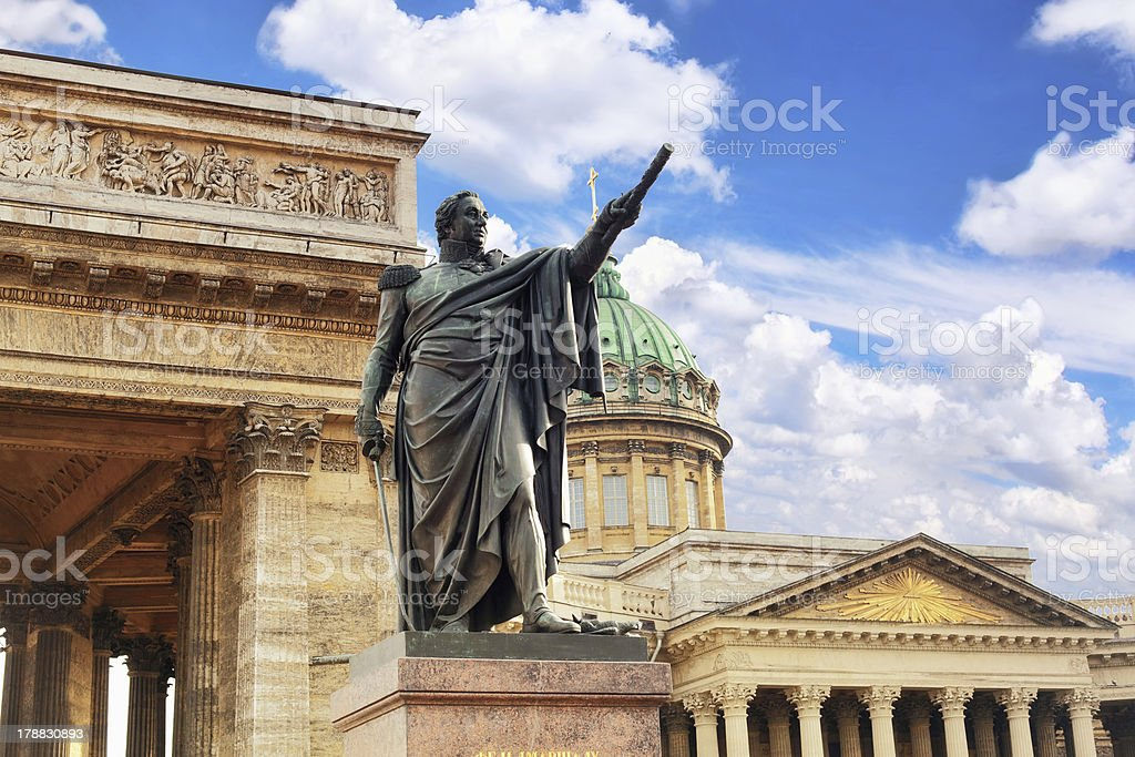 Cathedral - Our Lady of Kazan, Kutuzov monument's ,St Petersbur royalty-free stock photo
