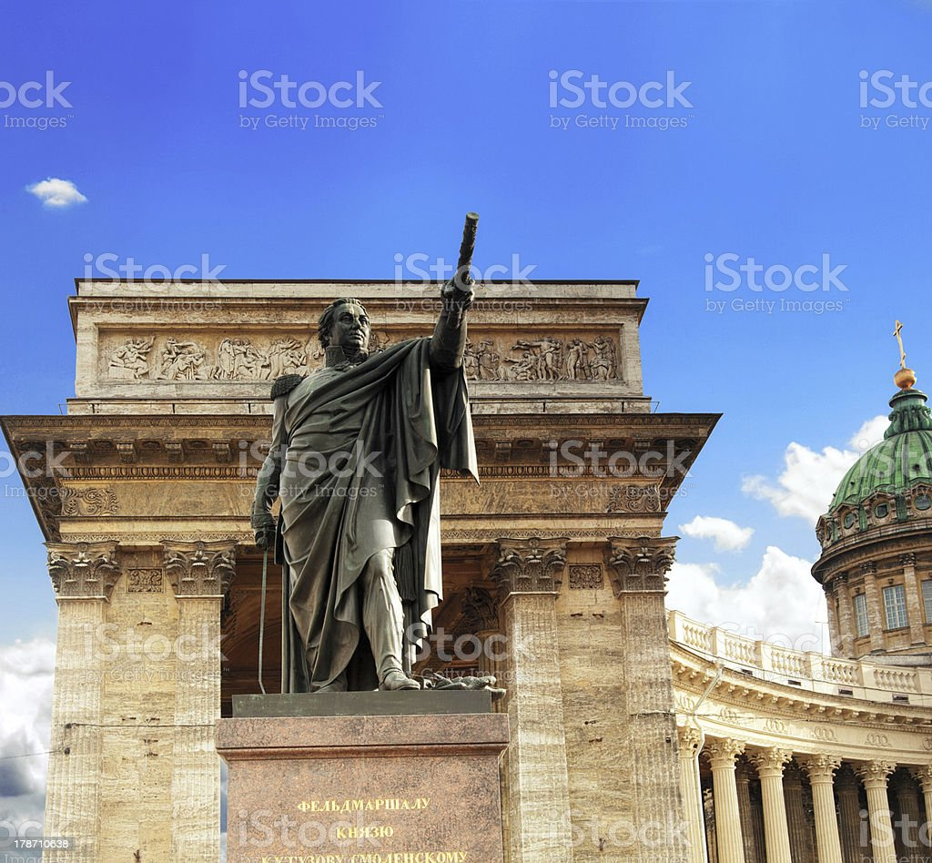 Cathedral : Our Lady of Kazan, monument  Kutuzov,St Petersburg royalty-free stock photo