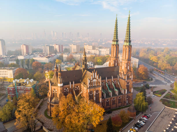 Cathedral parish of St. Archangel Michael and Saint. Florian Martyr at dawn aerial view stock photo