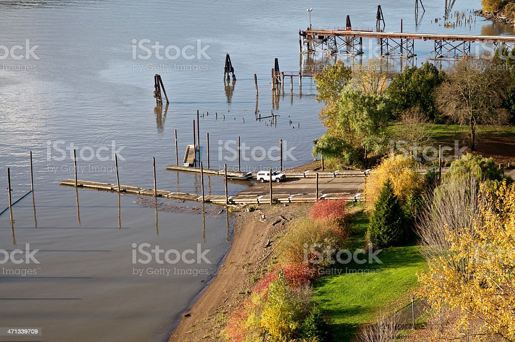 Cathedral Park Boat Dock Ramp St Johns Portland Oregon stock photo